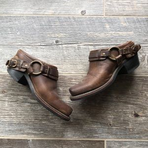 Frye Harness Brown Leather Mules Size 6